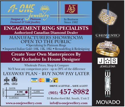 A-One Jewellery (905-457-8982) - Display Ad -