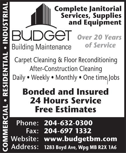 Budget Building Maintenance Winnipeg Mb 1283 Boyd Ave