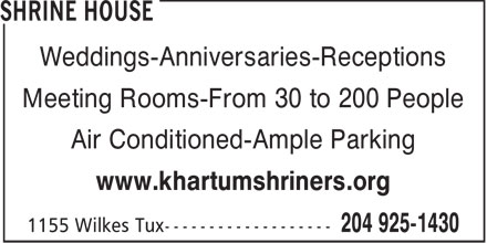 Khartum Shriners (204-925-1430) - Display Ad - Weddings-Anniversaries-Receptions Meeting Rooms-From 30 to 200 People Air Conditioned-Ample Parking www.khartumshriners.org