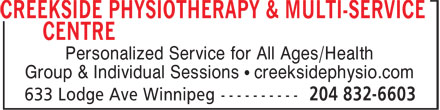 Creekside Physiotherapy & Multi-Service Centre (204-832-6603) - Display Ad - Personalized Service for All Ages/Health Group & Individual Sessions • creeksidephysio.com