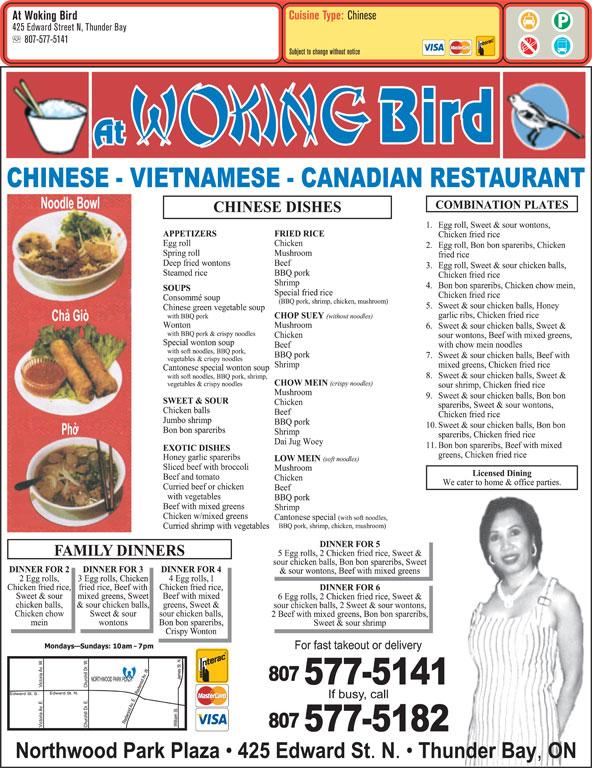 Chinese Food Thunder Bay Menu