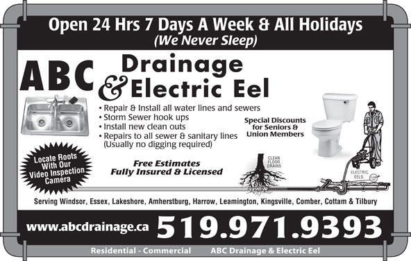 Abc Drainage Amp Electric Eel Opening Hours 1554 Grove