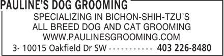 Pawline's Pet Grooming (403-226-8480) - Annonce illustrée======= -
