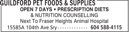 Guildford Pet Foods & Supplies (604-588-4115) - Annonce illustrée======= -