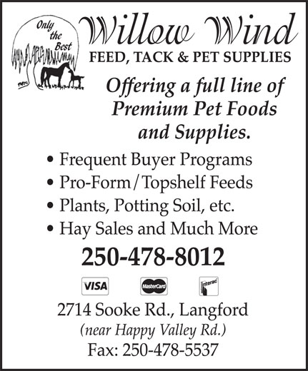 Willow Wind Feed & Pet Food (250-478-8012) - Display Ad -