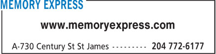 Memory Express Inc (204-772-6177) - Display Ad - www.memoryexpress.com