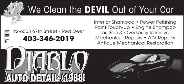 diablo auto detail 1988 2 6503 67 st red deer ab. Black Bedroom Furniture Sets. Home Design Ideas