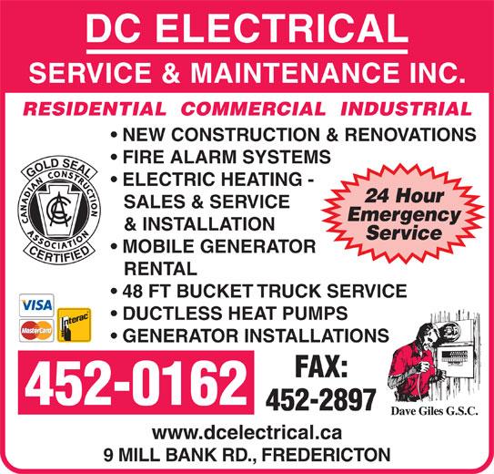 Dc Electrical Service Amp Maintenance Inc Nasonworth Nb