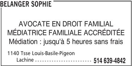 Sophie Bélanger (514-639-4842) - Annonce illustrée======= -