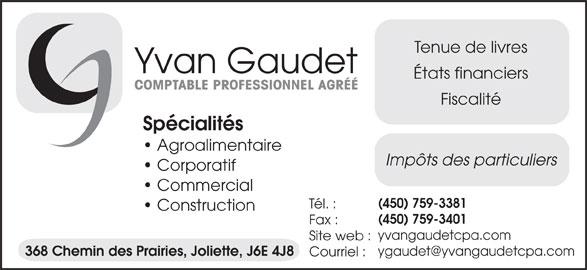 Gaudet Yvan CPA (450-759-3381) - Annonce illustrée======= -
