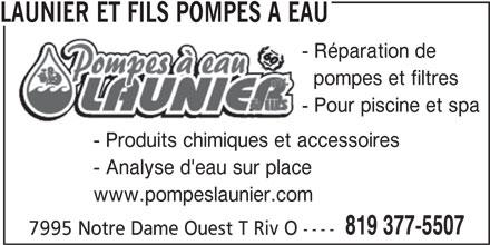 Launier et fils pompes a eau 7995 rue notre dame w for Reparation porte et fenetre trois rivieres