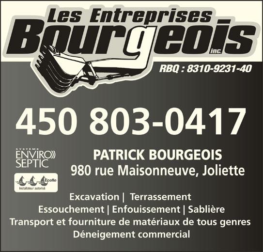 Les Entreprises Bourgeois Inc (450-803-0417) - Annonce illustrée======= -