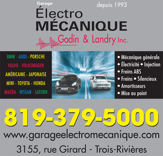 Garage lectro m canique godin landry inc horaire d for Garage mecanique bmw