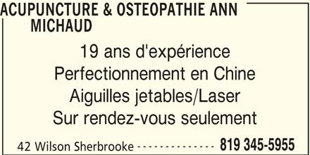 Ads Acupuncture & Ostéopathie Ann Michaud