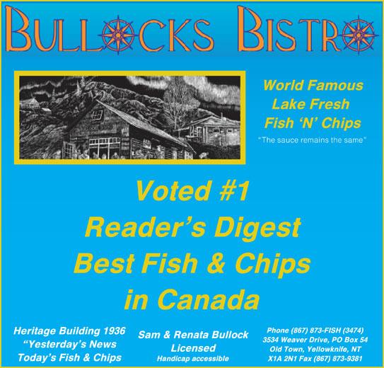 Bullock's Bistro (867-873-3474) - Display Ad -