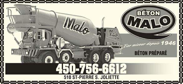 Béton L. Malo inc. (450-756-6612) - Annonce illustrée======= - 450-756-6612450-756-6612 510 ST-PIERRE S. JOLIETTE510 ST-PIERRE S. JOLIETTE