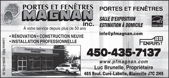 Portes et fen tres magnan inc blainville qc 485 boul for Porte fenetre futura laval