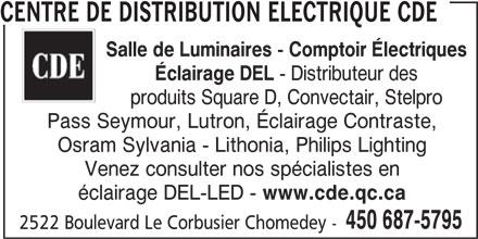 Centre de Distribution Electrique CDE (450-687-5795) - Display Ad -