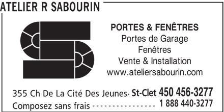 Atelier r sabourin saint clet qc 355 ch de la cit for Porte fenetre futura laval