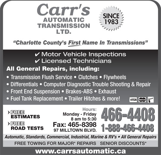 Carr 39 S Automatic Transmission Ltd Opening Hours 97 Milltown Blvd St Stephen Nb