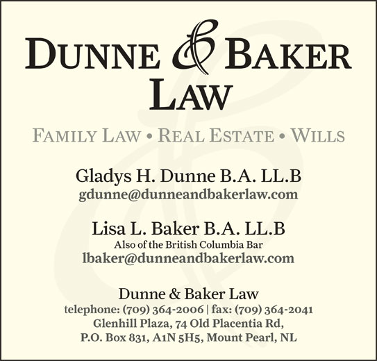 Dunne Baker Law (709-364-2006) - Display Ad -