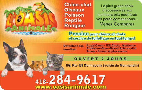 Oasis Animale (418-285-2356) - Annonce illustrée======= - www.oasisanimale.com Chien-chatChien-chat Le plus grand choixLe plus gran OiseauxOiseaux d'accessoires auxd'accessoi meilleurs prix pour tousmeilleurs prix PoissonPoisson vos petits compagnons...vos petits com ReptileReptile Venez ComparezVenez Co RongeurRongeur Pension pour chiens et chatsour chiens et chPension p Royal Canin - 1ER Choix - Nutrienceyal Canin - 1ER Choix Ro Détaillant des ProNature Oven-Baked Science dietoNature Oven-Baked SPr moulées: Acana - Fromm et plus encore OUVERT 7 JOUR 192, Rte 138 Donnacona (voisin du Normandin) 418-284-9617418