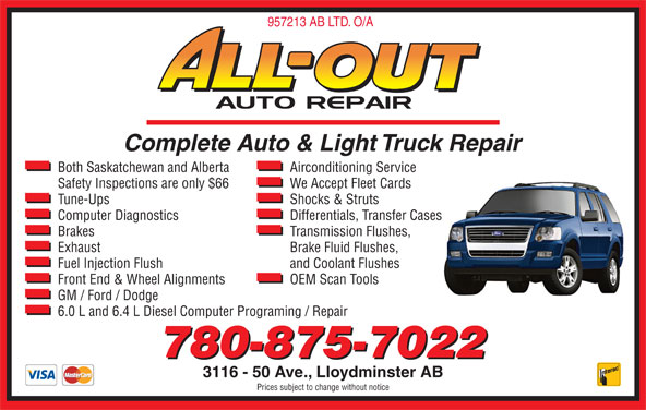 All out auto repair opening hours 3116 50 ave lloydminster ab