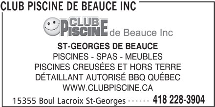 Club piscine de beauce inc st georges qc 15355 boul for Fourniture de beauce