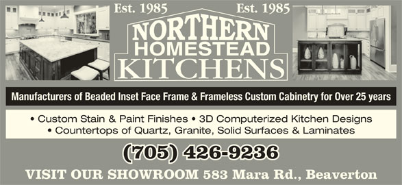 Northern homestead kitchens 583 mara rd rr 3 beaverton on for Beaverton kitchen cabinets reviews