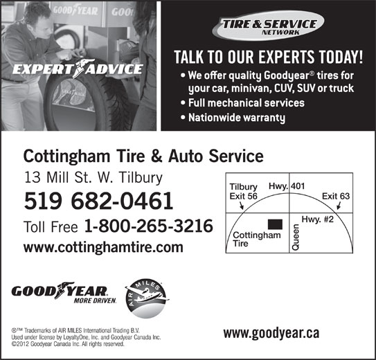 Cottingham Tire & Auto Service (519-682-0461) - Display Ad -