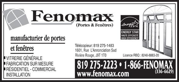 Fenomax portes fen tres mont laurier qc 1617 for Porte fenetre futura laval