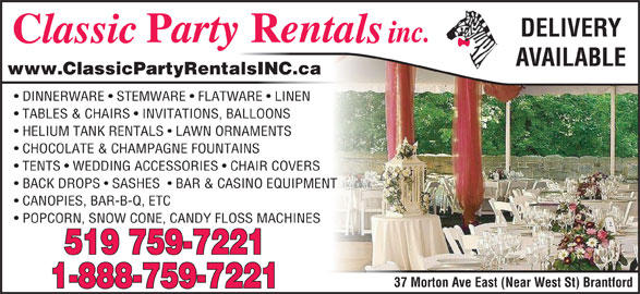 Classic Party Rentals Inc Brantford On 37 Morton Ave