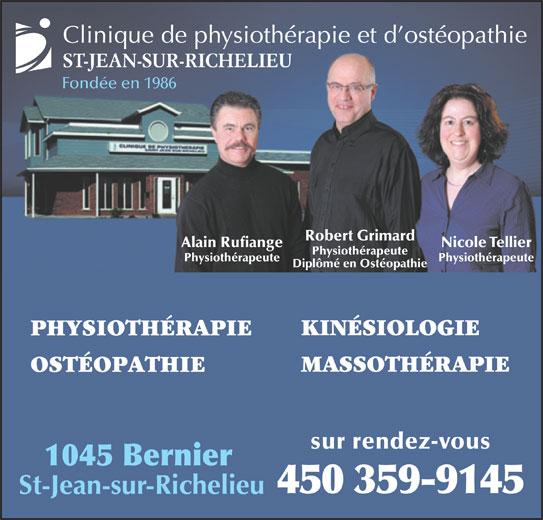 Clinique De Physiothérapie Et Ostheopathie St-Jean (450-359-9145) - Annonce illustrée======= -