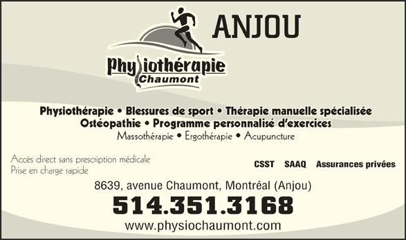 Physiothérapie Chaumont - Anjou (514-351-3168) - Annonce illustrée======= -