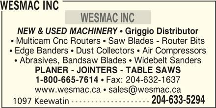 Wesmac Inc - Winnipeg, MB - 1097 Keewatin St | Canpages
