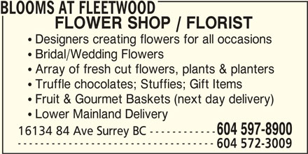 Blooms At Fleetwood (604-572-3009) - Display Ad -