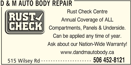 D&M Auto Body Repair (506-452-8121) - Annonce illustrée======= -