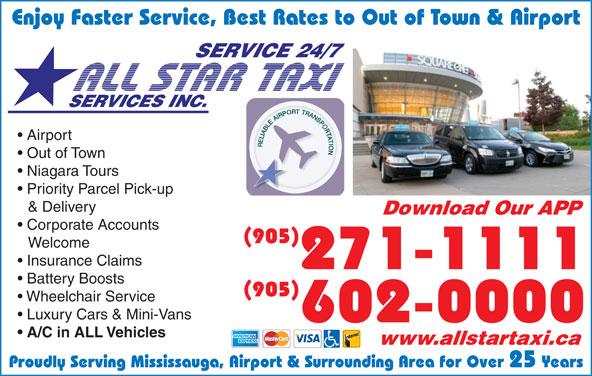 All Star Taxi (905-602-0000) - Annonce illustrée======= -