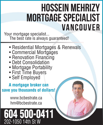 604-500-0411) - Display Ad - Your mortgage specialist... The best rate ...