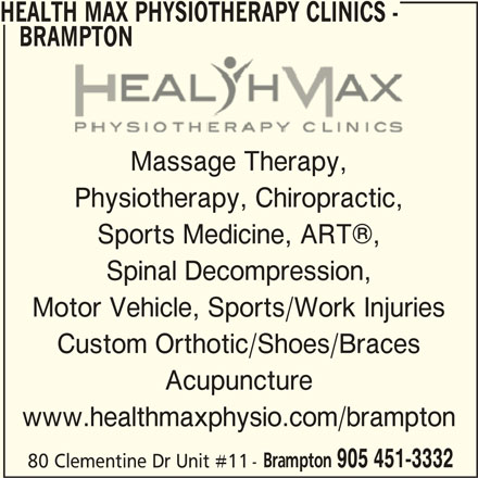 Health Max Physiotherapy Clinics - Brampton (905-451-3332) - Display Ad -