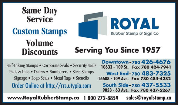 Royal Rubber Stamp Co Ltd (780-426-4676) - Display Ad -