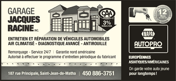 Garage racine jacques saint jean de matha qc 187 rte for Garage ad st coulomb