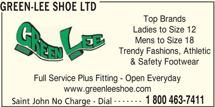 Green-Lee Shoe Ltd (1-800-463-7411) - Annonce illustrée======= -