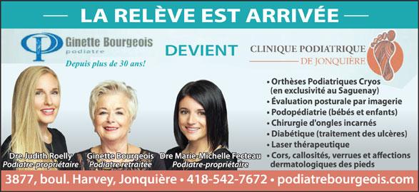 Clinique Podiatrique De Jonquiere (418-542-7672) - Annonce illustrée======= -