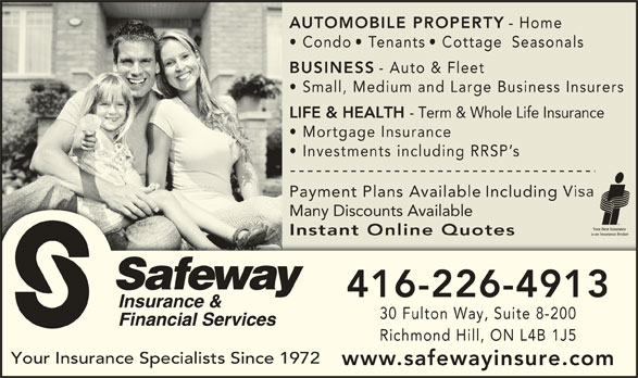 Transamerica Life Insurance Reviews >> Safeway Insurance & Financial Services - Opening Hours ...