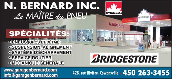 N Bernard Inc (450-263-3455) - Annonce illustrée======= - www.garagenbernard.com 428, rue Rivière, Cowansville