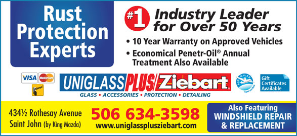 Uniglassplus - Ziebart (506-634-3598) - Annonce illustrée======= -
