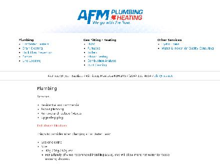 AFM Plumbing & Heating (204-515-1123) - Website thumbnail - http://www.afmplumbingheating.com