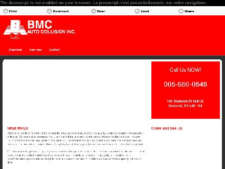 B M C Auto Collision Inc (905-660-0848) - Onglet de site Web - http://bmccollision.ca/