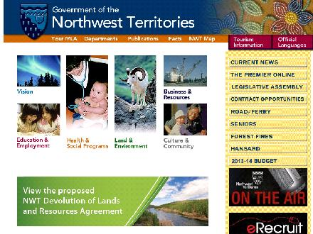 Government of the Northwest Territories - Bids and Tenders (695-3425) - Onglet de site Web - http://www.gov.nt.ca